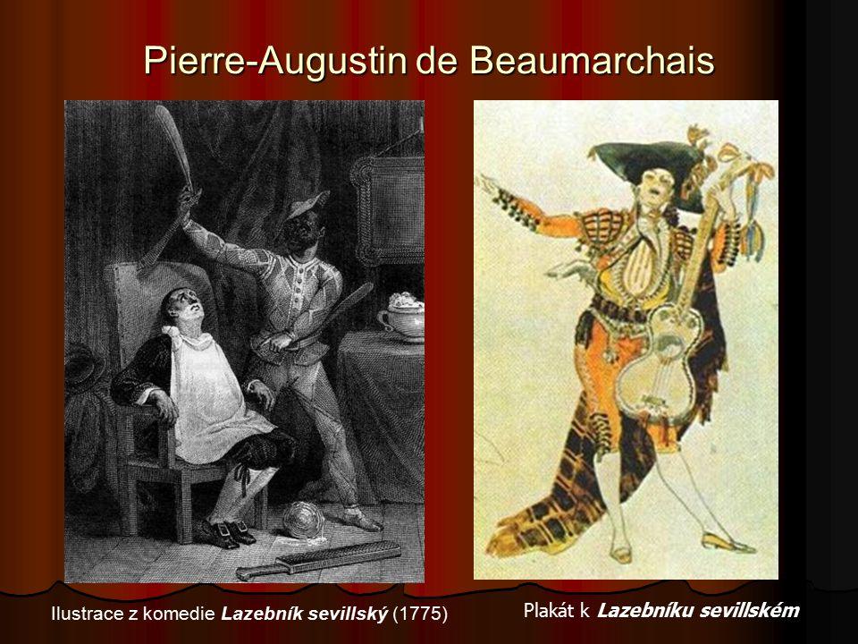 Pierre-Augustin de Beaumarchais Plakát k Lazebníku sevillském Ilustrace z komedie Lazebník sevillský (1775)
