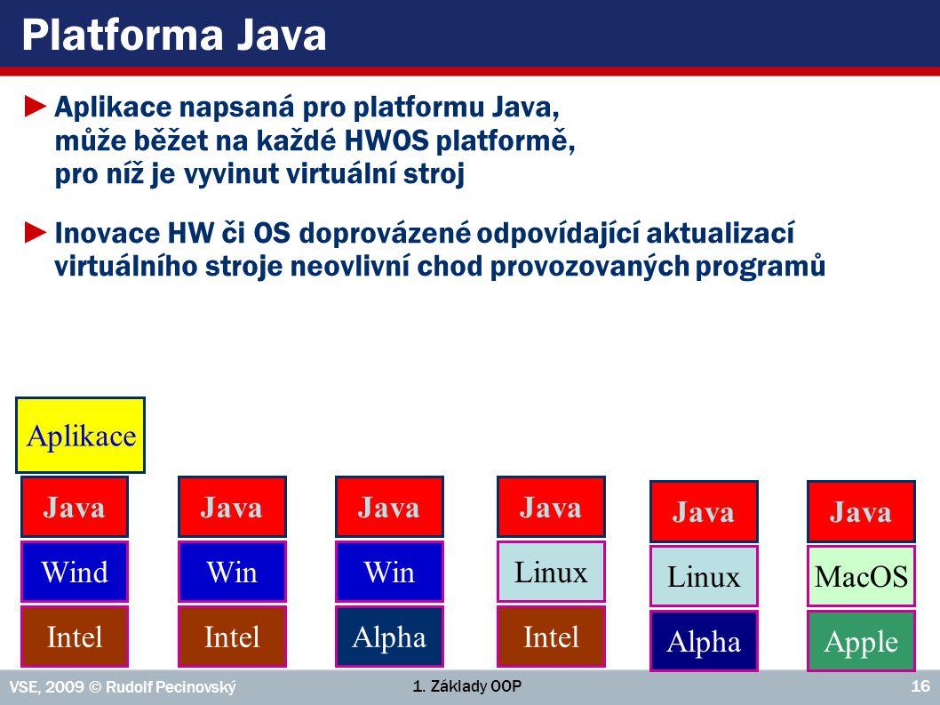 1. Základy OOP VSE, 2009 © Rudolf Pecinovský 16 Platforma Java ►Aplikace napsaná pro platformu Java, může běžet na každé HWOS platformě, pro níž je vy