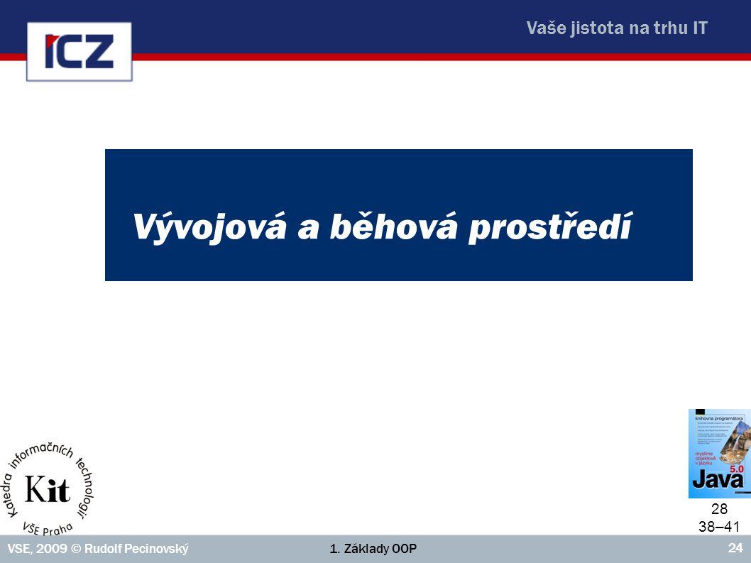 Vaše jistota na trhu IT 1. Základy OOPVSE, 2009 © Rudolf Pecinovský 24 Vývojová a běhová prostředí 28 38–41