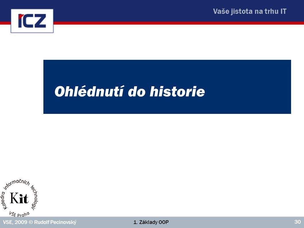 Vaše jistota na trhu IT 1. Základy OOPVSE, 2009 © Rudolf Pecinovský 30 Ohlédnutí do historie
