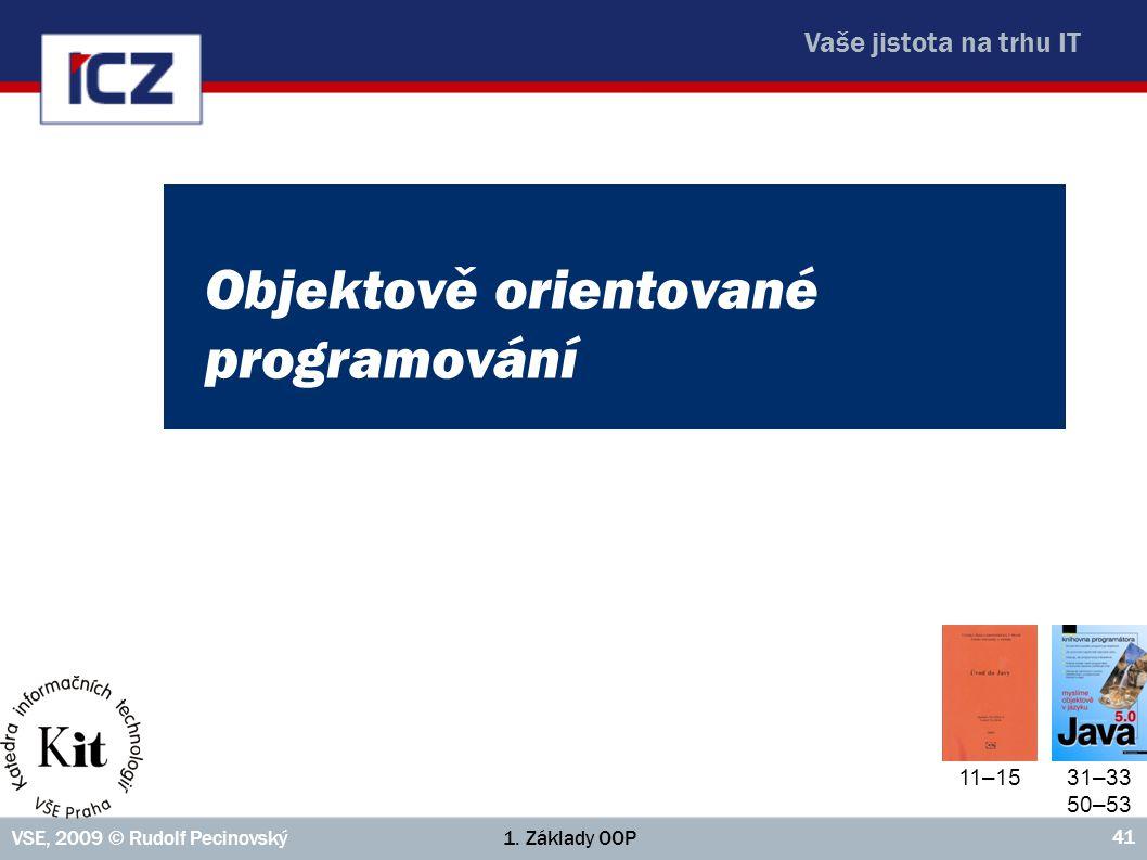 Vaše jistota na trhu IT 1. Základy OOPVSE, 2009 © Rudolf Pecinovský 41 Objektově orientované programování 11–15 31–33 50–53