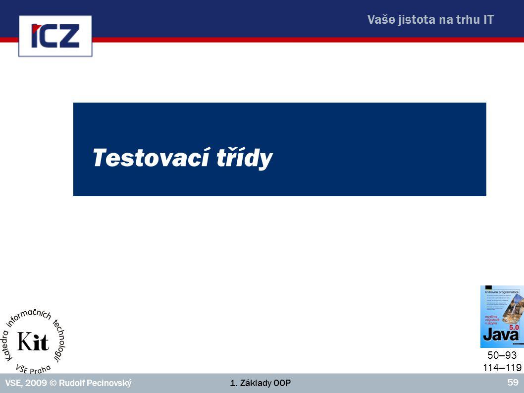 Vaše jistota na trhu IT 1. Základy OOPVSE, 2009 © Rudolf Pecinovský 59 Testovací třídy 50–93 114–119