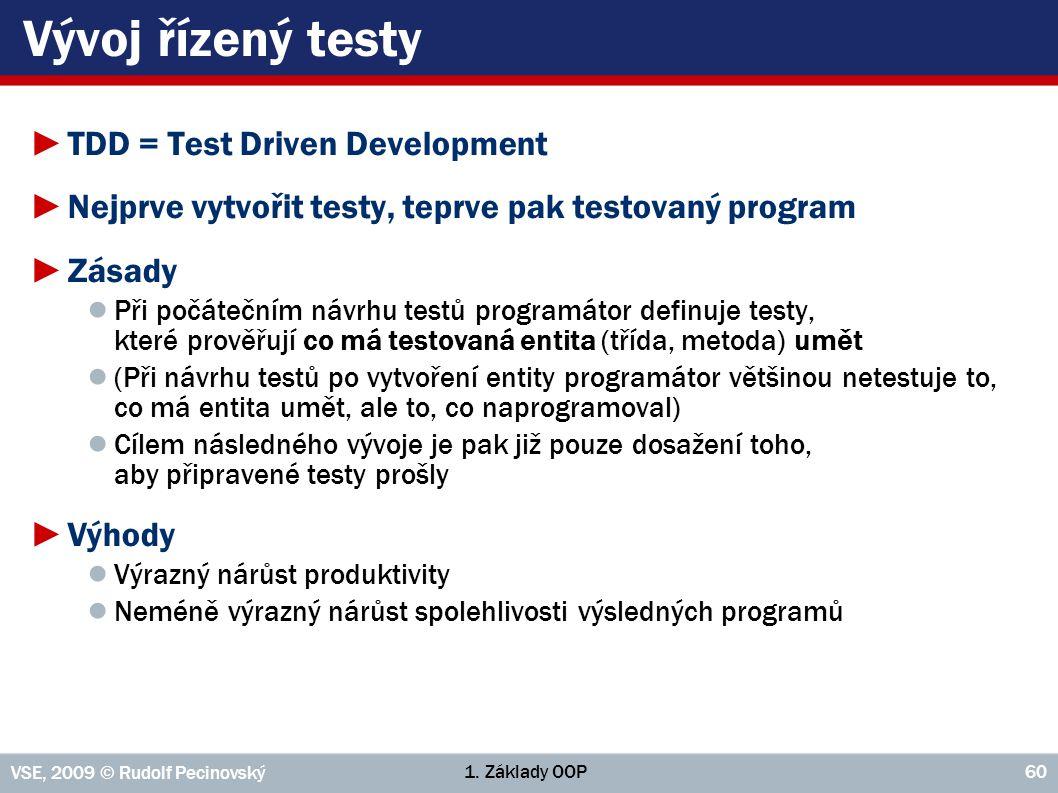 1. Základy OOP VSE, 2009 © Rudolf Pecinovský 60 Vývoj řízený testy ►TDD = Test Driven Development ►Nejprve vytvořit testy, teprve pak testovaný progra
