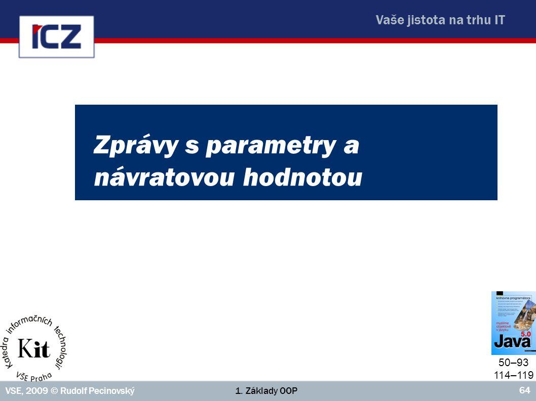 Vaše jistota na trhu IT 1. Základy OOPVSE, 2009 © Rudolf Pecinovský 64 Zprávy s parametry a návratovou hodnotou 50–93 114–119