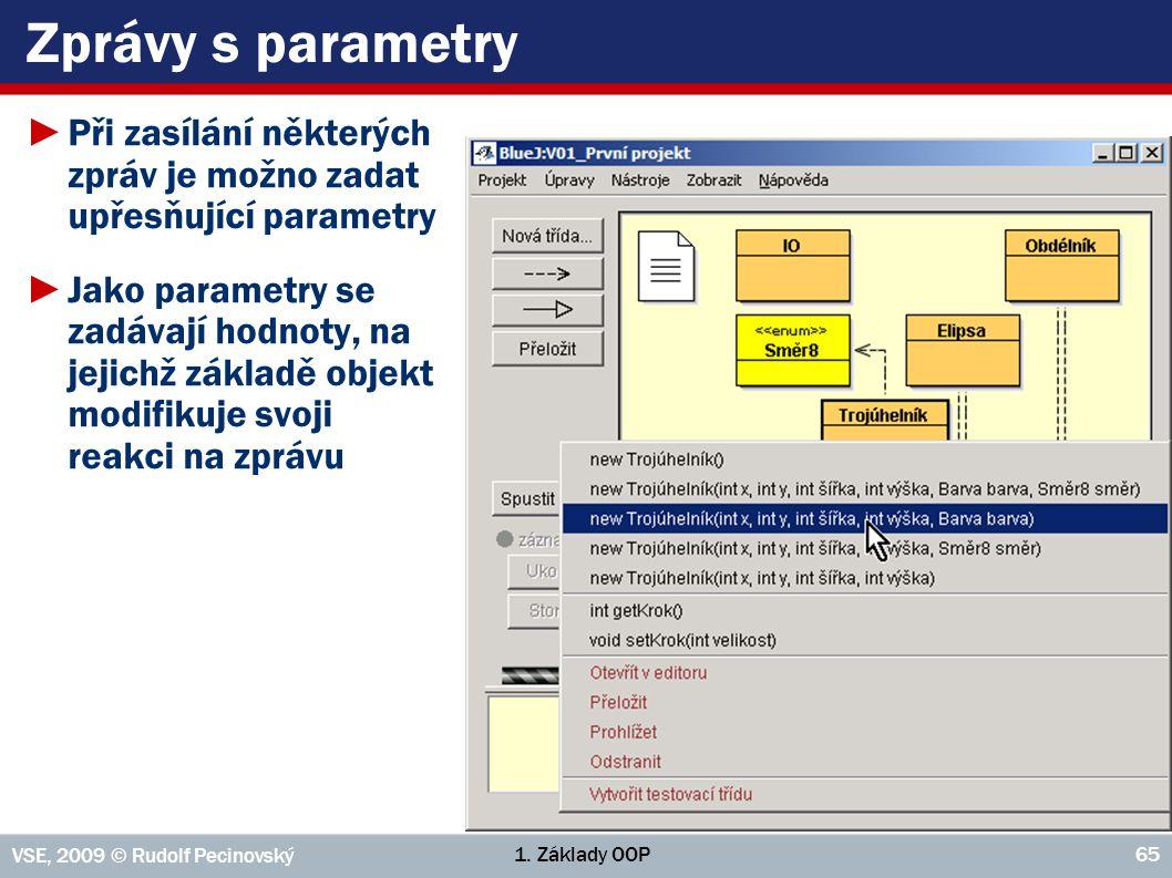 1. Základy OOP VSE, 2009 © Rudolf Pecinovský 65 Zprávy s parametry ►Při zasílání některých zpráv je možno zadat upřesňující parametry ►Jako parametry