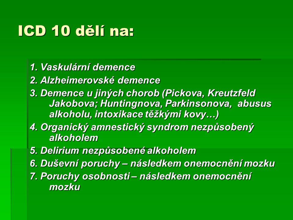 ICD 10 dělí na: 1. Vaskulární demence 2. Alzheimerovské demence 3. Demence u jiných chorob (Pickova, Kreutzfeld Jakobova; Huntingnova, Parkinsonova, a