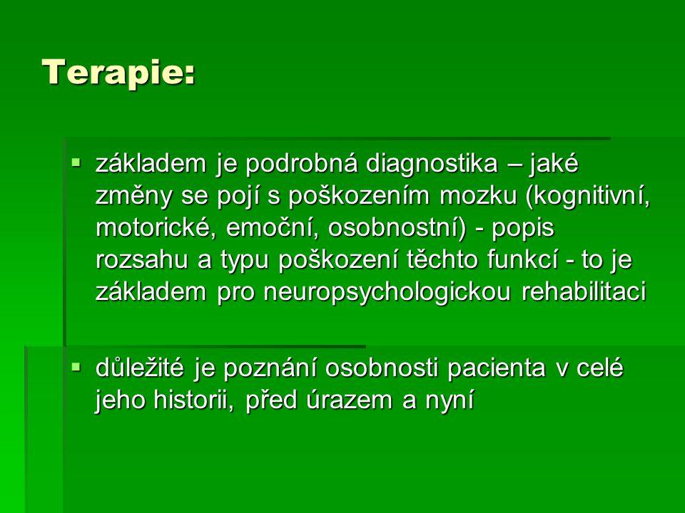 Terapie:  základem je podrobná diagnostika – jaké změny se pojí s poškozením mozku (kognitivní, motorické, emoční, osobnostní) - popis rozsahu a typu
