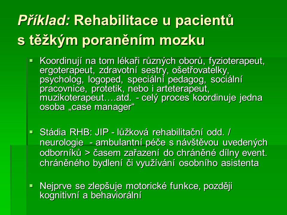 Příklad: Rehabilitace u pacientů s těžkým poraněním mozku  Koordinují na tom lékaři různých oborů, fyzioterapeut, ergoterapeut, zdravotní sestry, oše