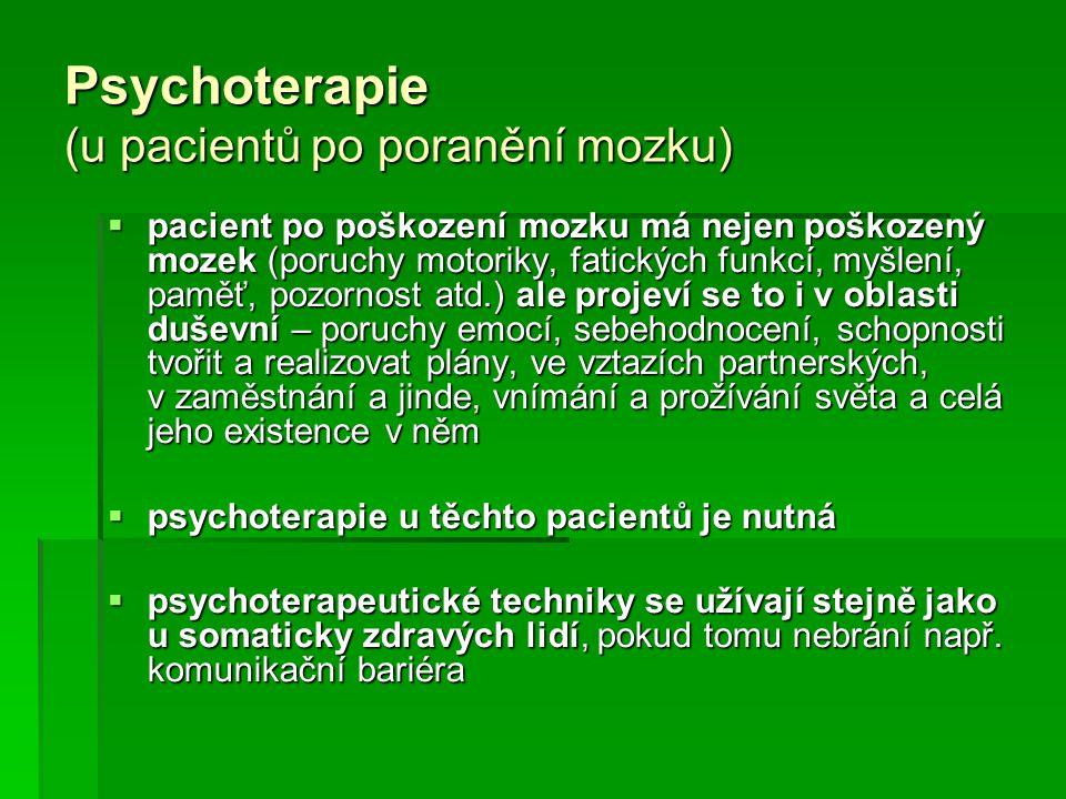 Psychoterapie (u pacientů po poranění mozku)  pacient po poškození mozku má nejen poškozený mozek (poruchy motoriky, fatických funkcí, myšlení, paměť