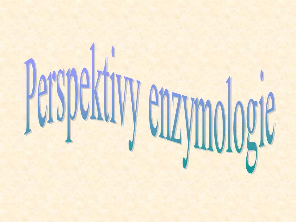 """Enzymová katalysa v nevodném prostředí Enzymy nevyužívají všechny molekuly vody přítomné v roztoku, pouze ty, které jsou v jeho blízkosti Je možné nahradit většinu vody v systému organickým rozpouštědlem (stačí < 2 % vody) Možno použít """"vlhký , pevný enzym, suspendovaný v organickém rozpouštědle"""