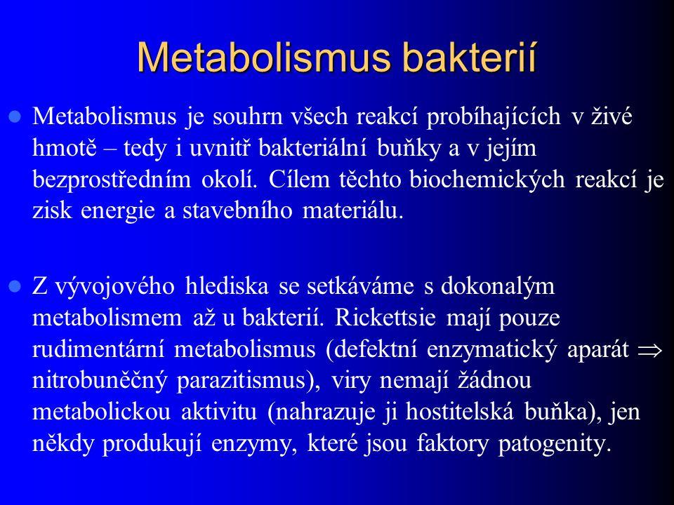 Metabolismus bakterií Metabolismus je souhrn všech reakcí probíhajících v živé hmotě – tedy i uvnitř bakteriální buňky a v jejím bezprostředním okolí.