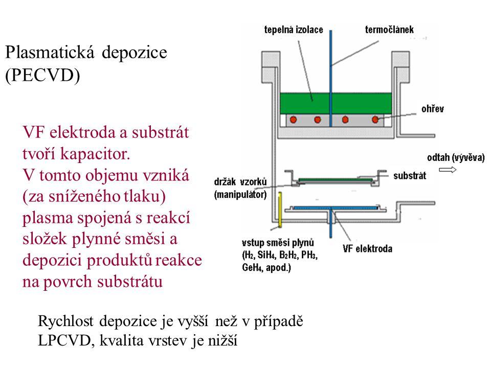 Plasmatická depozice (PECVD) Rychlost depozice je vyšší než v případě LPCVD, kvalita vrstev je nižší VF elektroda a substrát tvoří kapacitor. V tomto