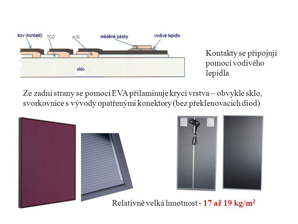 Kontakty se připojují pomocí vodivého lepidla Ze zadní strany se pomocí EVA přilaminuje krycí vrstva – obvykle sklo, svorkovnice s vývody opatřenými k