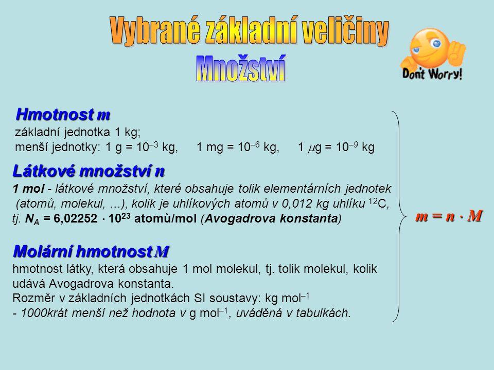 Hmotnost m základní jednotka 1 kg; menší jednotky: 1 g = 10 –3 kg, 1 mg = 10 –6 kg, 1  g = 10 –9 kg Látkové množství n Látkové množství n 1 mol - látkové množství, které obsahuje tolik elementárních jednotek (atomů, molekul,...), kolik je uhlíkových atomů v 0,012 kg uhlíku 12 C, tj.