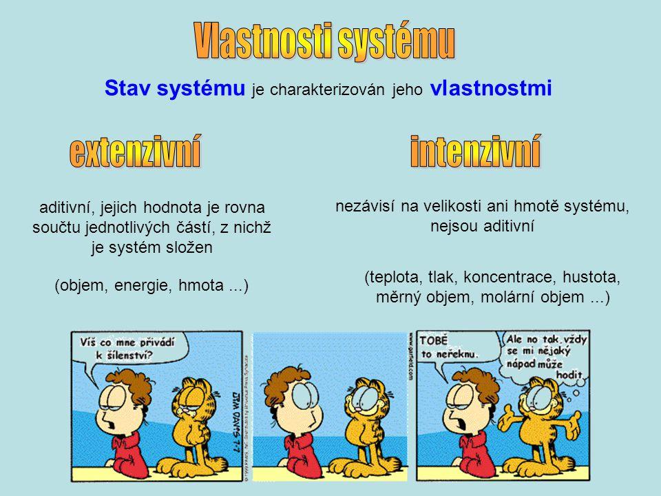 Stav systému je charakterizován jeho vlastnostmi aditivní, jejich hodnota je rovna součtu jednotlivých částí, z nichž je systém složen (objem, energie, hmota...) nezávisí na velikosti ani hmotě systému, nejsou aditivní (teplota, tlak, koncentrace, hustota, měrný objem, molární objem...)