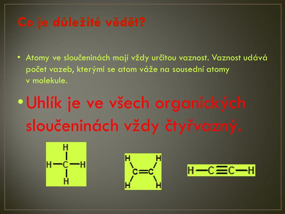 prvekvaznostvazebné možnosti Volné elektronové páry vodíkjednovazný-H0 kyslíkdvojvazný-O-H, =O2 dusíktrojvazný1 halogenyjednovazné-F, -Cl, -Br, -I3