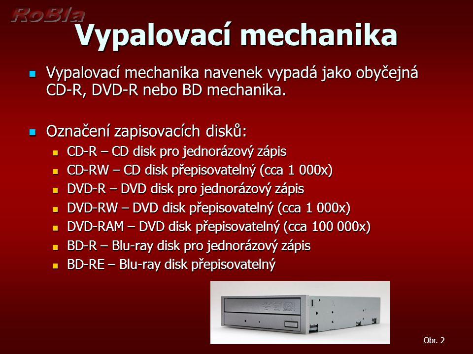 Vypalovací mechanika Vypalovací mechanika navenek vypadá jako obyčejná CD-R, DVD-R nebo BD mechanika. Vypalovací mechanika navenek vypadá jako obyčejn