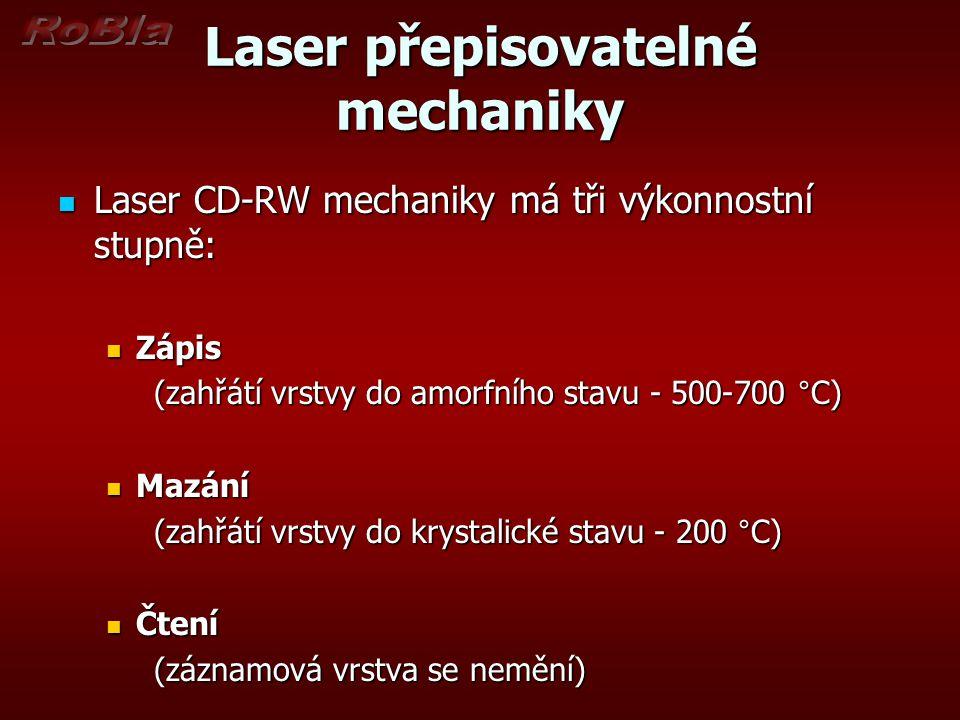 Laser přepisovatelné mechaniky Laser CD-RW mechaniky má tři výkonnostní stupně: Laser CD-RW mechaniky má tři výkonnostní stupně: Zápis Zápis (zahřátí vrstvy do amorfního stavu - 500-700 °C) Mazání Mazání (zahřátí vrstvy do krystalické stavu - 200 °C) Čtení Čtení (záznamová vrstva se nemění)