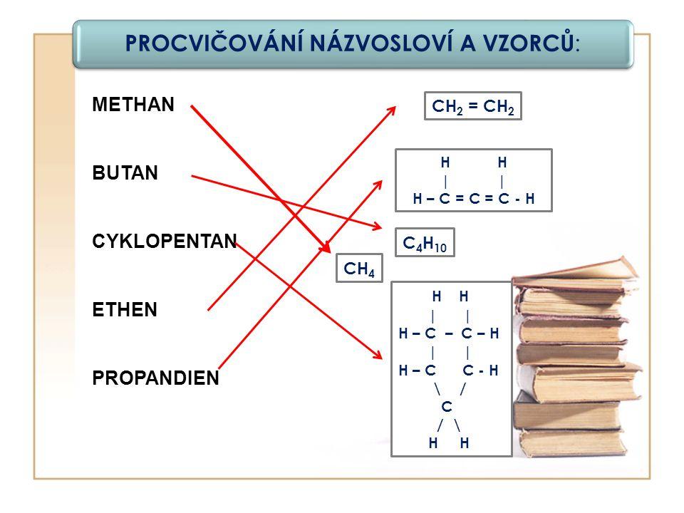 PROCVIČOVÁNÍ NÁZVOSLOVÍ A VZORCŮ : METHAN BUTAN CYKLOPENTAN ETHEN PROPANDIEN H | H – C = C = C - H CH 4 CH 2 = CH 2 C 4 H 10 H H | | H – C – C – H | | H – C C - H \ / C / \ H H