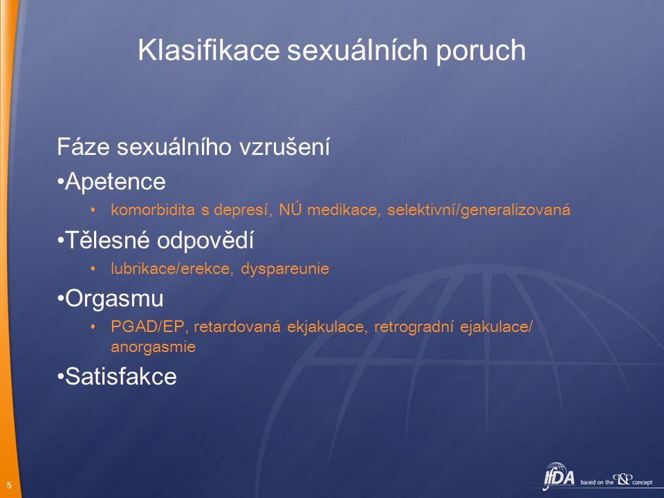 5 Klasifikace sexuálních poruch Fáze sexuálního vzrušení Apetence komorbidita s depresí, NÚ medikace, selektivní/generalizovaná Tělesné odpovědí lubri