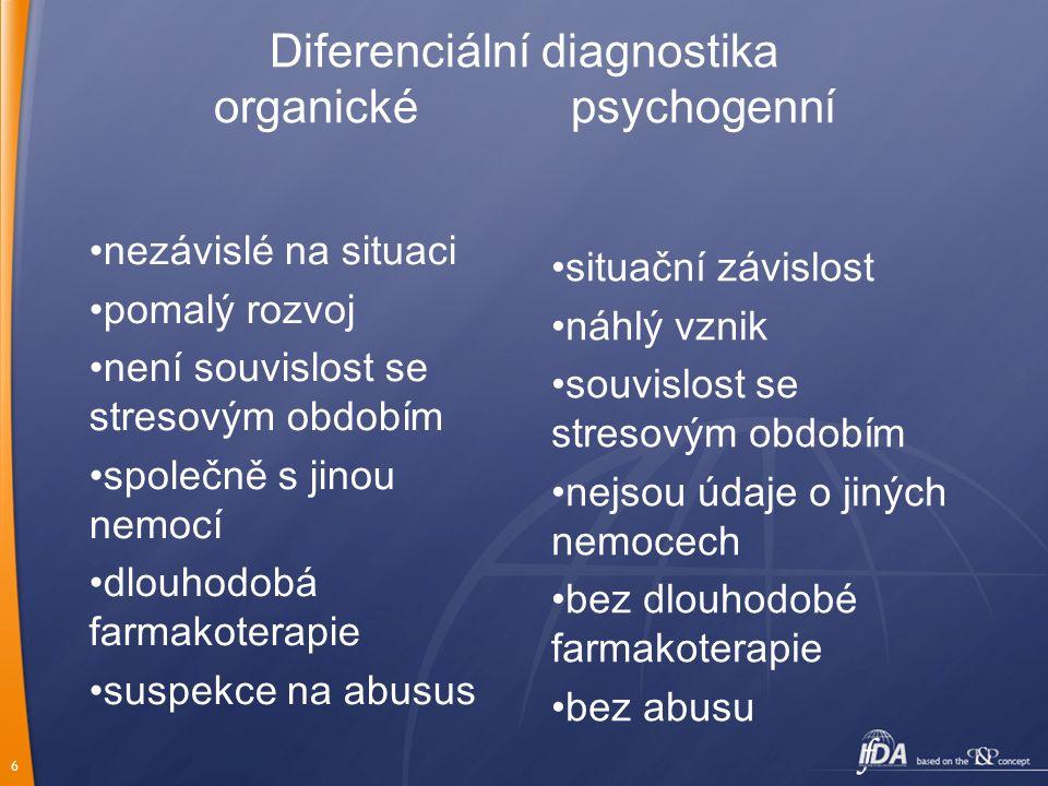 6 Diferenciální diagnostika organické psychogenní nezávislé na situaci pomalý rozvoj není souvislost se stresovým obdobím společně s jinou nemocí dlou