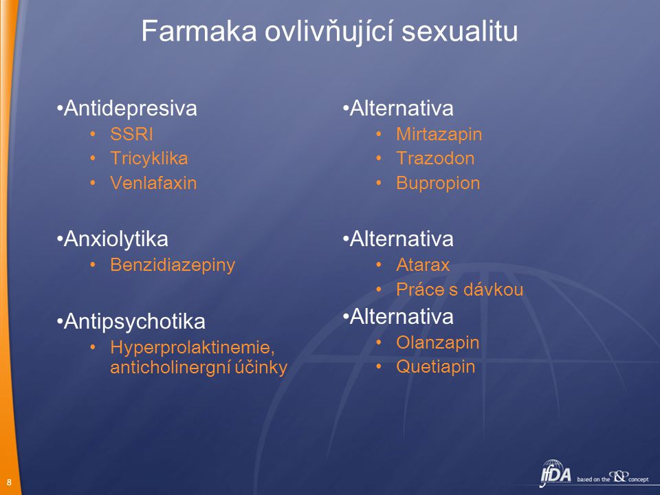 8 Farmaka ovlivňující sexualitu Antidepresiva SSRI Tricyklika Venlafaxin Anxiolytika Benzidiazepiny Antipsychotika Hyperprolaktinemie, anticholinergní