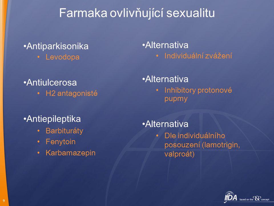 9 Farmaka ovlivňující sexualitu Antiparkisonika Levodopa Antiulcerosa H2 antagonisté Antiepileptika Barbituráty Fenytoin Karbamazepin Alternativa Indi
