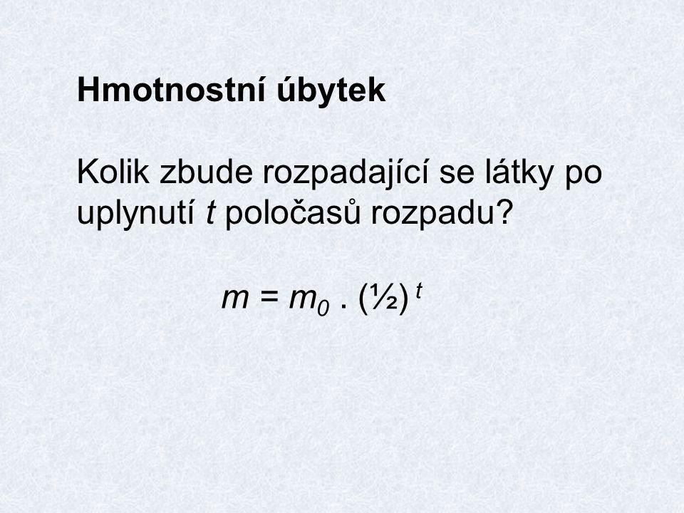 Hmotnostní úbytek Kolik zbude rozpadající se látky po uplynutí t poločasů rozpadu m = m 0. (½) t