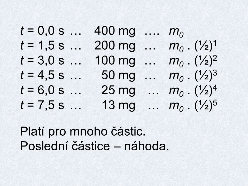 t = 0,0 s…400 mg….m 0 t = 1,5 s…200 mg…m 0. (½) 1 t = 3,0 s…100 mg…m 0.