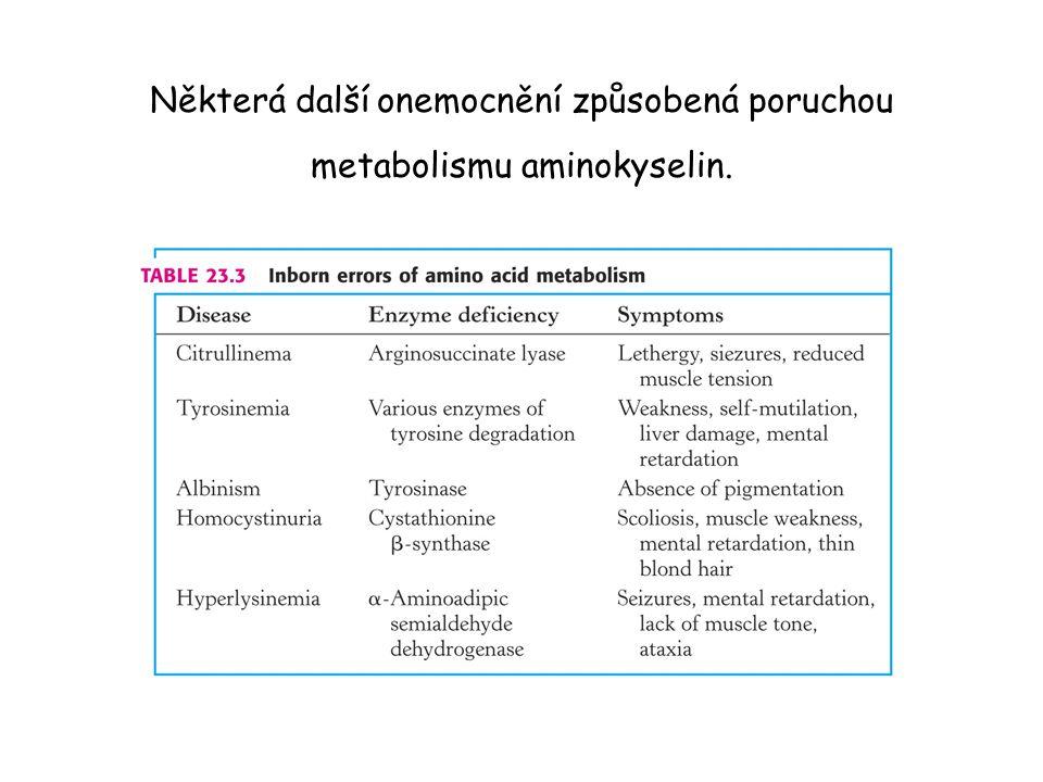 Některá další onemocnění způsobená poruchou metabolismu aminokyselin.