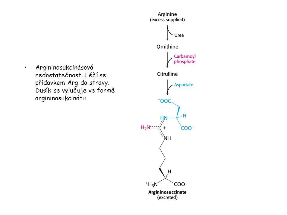 Argininosukcinásová nedostatečnost. Léčí se přídavkem Arg do stravy. Dusík se vylučuje ve formě argininosukcinátu