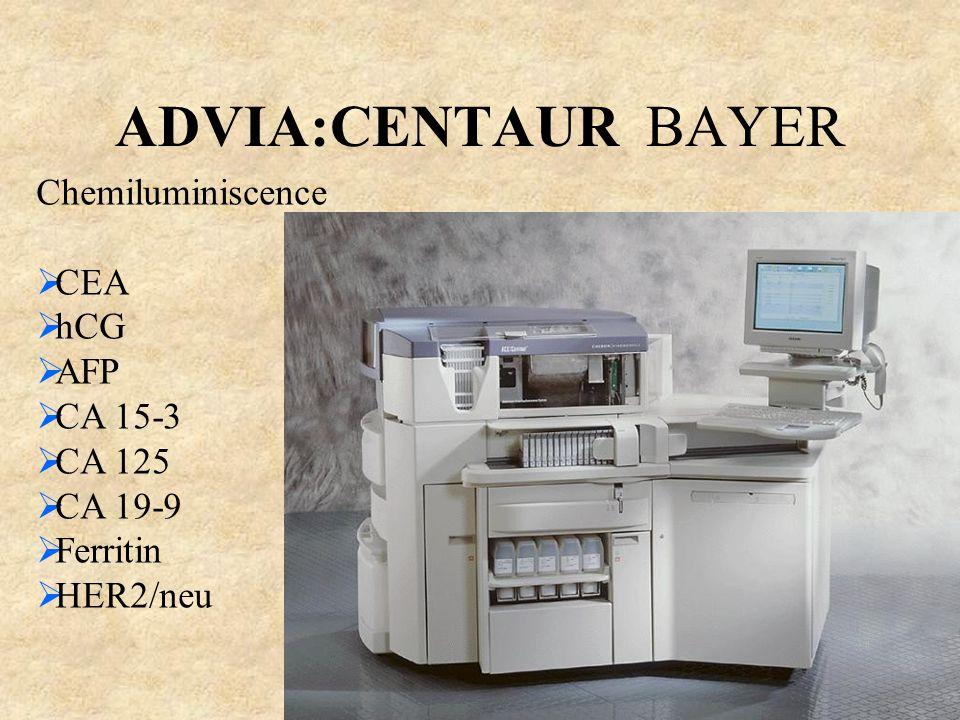 ADVIA:CENTAUR BAYER Chemiluminiscence  CEA  hCG  AFP  CA 15-3  CA 125  CA 19-9  Ferritin  HER2/neu