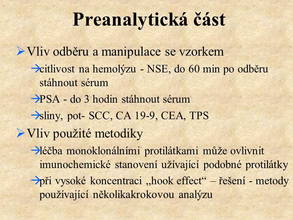 Preanalytická část  Vliv odběru a manipulace se vzorkem  citlivost na hemolýzu - NSE, do 60 min po odběru stáhnout sérum  PSA - do 3 hodin stáhnout