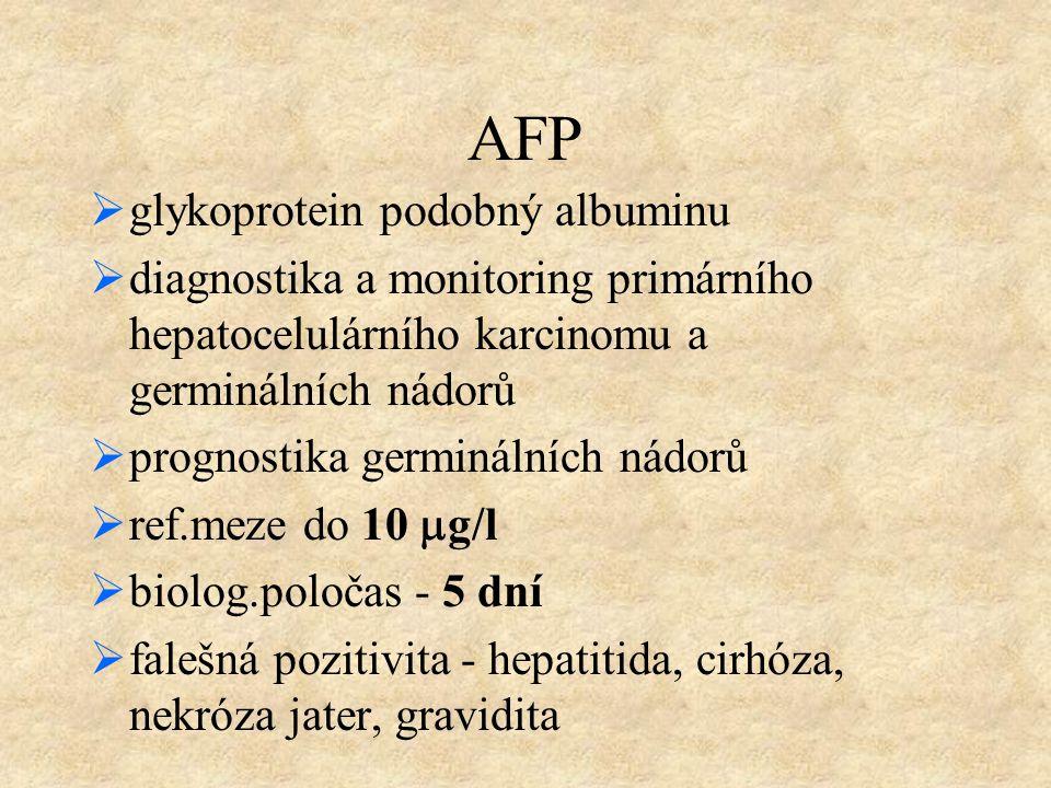 AFP  glykoprotein podobný albuminu  diagnostika a monitoring primárního hepatocelulárního karcinomu a germinálních nádorů  prognostika germinálních