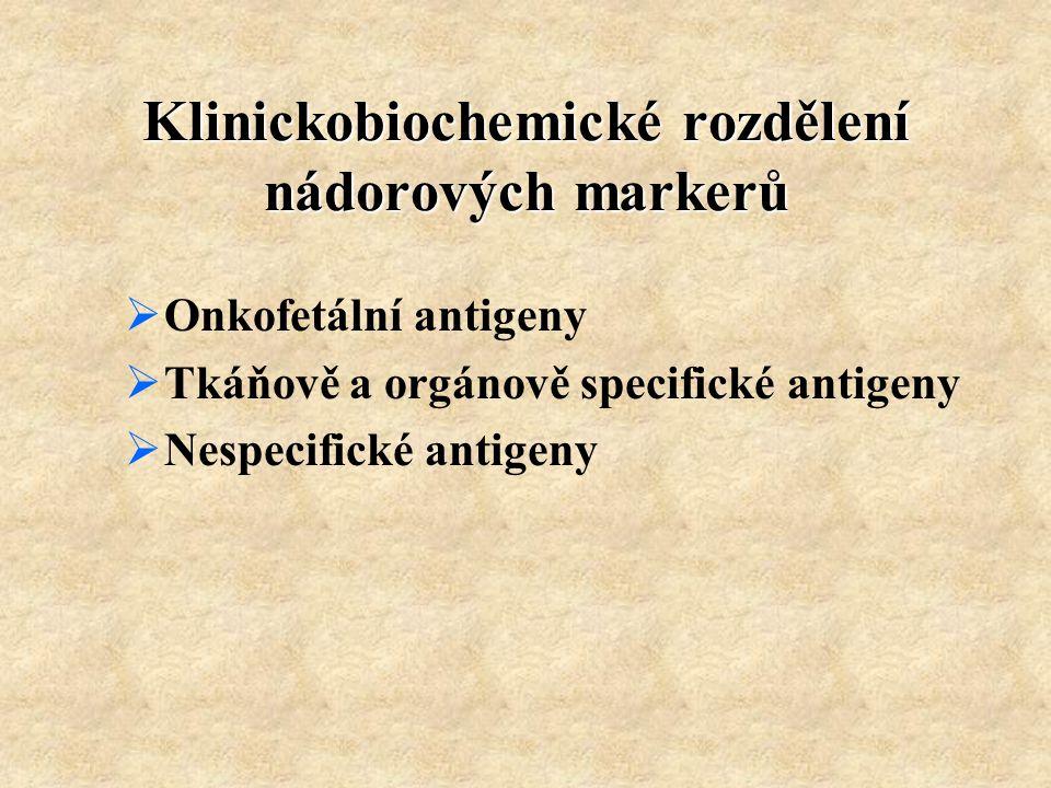 Klinickobiochemické rozdělení nádorových markerů  Onkofetální antigeny  Tkáňově a orgánově specifické antigeny  Nespecifické antigeny