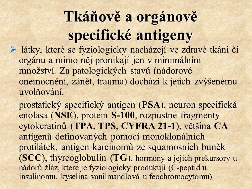 Tkáňově a orgánově specifické antigeny  látky, které se fyziologicky nacházejí ve zdravé tkáni či orgánu a mimo něj pronikají jen v minimálním množst