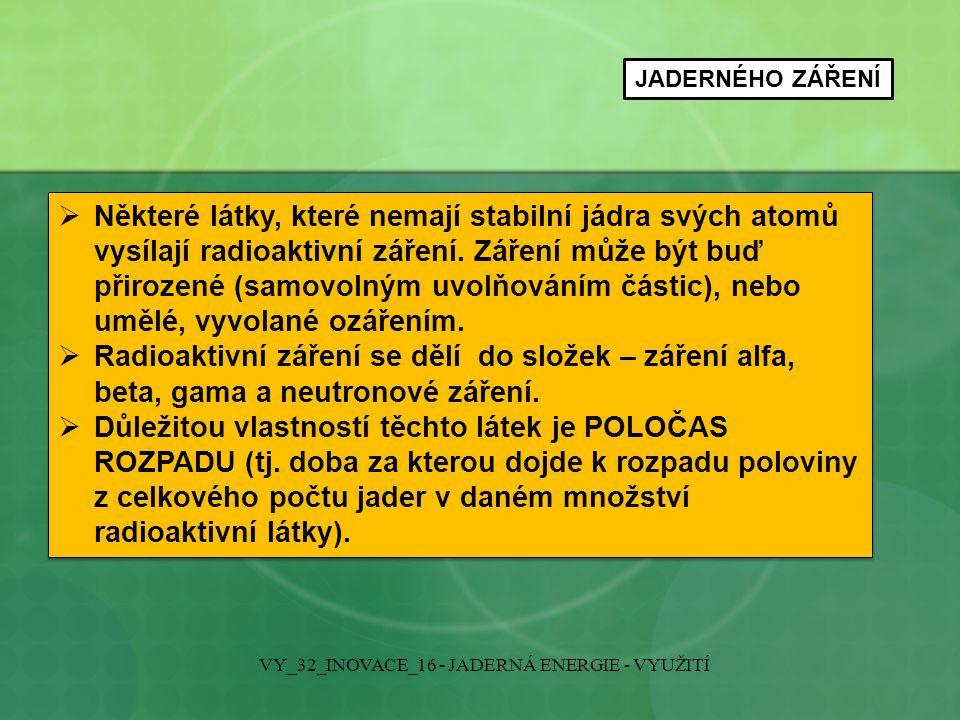 VYUŽITÍ JADERNÉHO ZÁŘENÍ VY_32_INOVACE_16 - JADERNÁ ENERGIE - VYUŽITÍ RADIONUKLIDY – tj.
