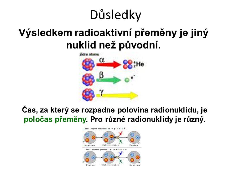 Důsledky Výsledkem radioaktivní přeměny je jiný nuklid než původní. Čas, za který se rozpadne polovina radionuklidu, je poločas přeměny. Pro různé rad