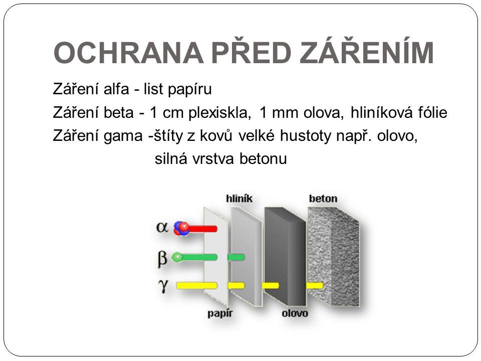 OCHRANA PŘED ZÁŘENÍM Záření alfa - list papíru Záření beta - 1 cm plexiskla, 1 mm olova, hliníková fólie Záření gama -štíty z kovů velké hustoty např.