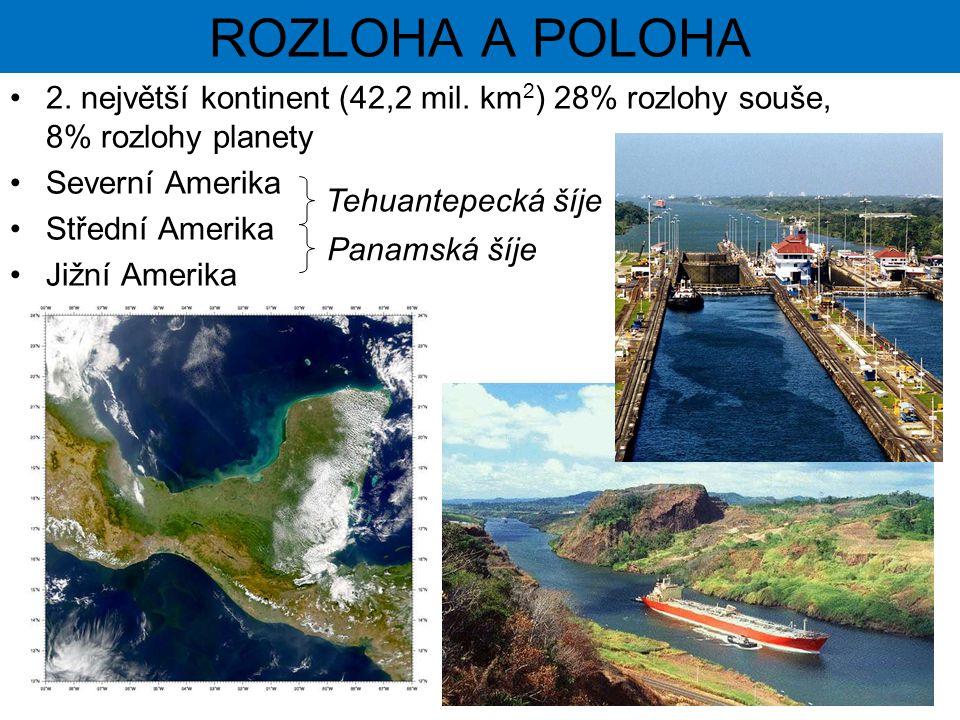 2. největší kontinent (42,2 mil. km 2 ) 28% rozlohy souše, 8% rozlohy planety Severní Amerika Střední Amerika Jižní Amerika Tehuantepecká šíje Panamsk
