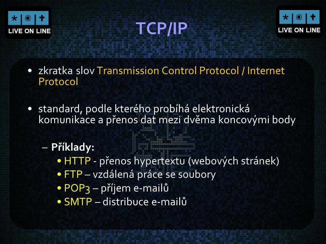 LIVE ON LINE TCP/IP zkratka slov Transmission Control Protocol / Internet Protocol standard, podle kterého probíhá elektronická komunikace a přenos da