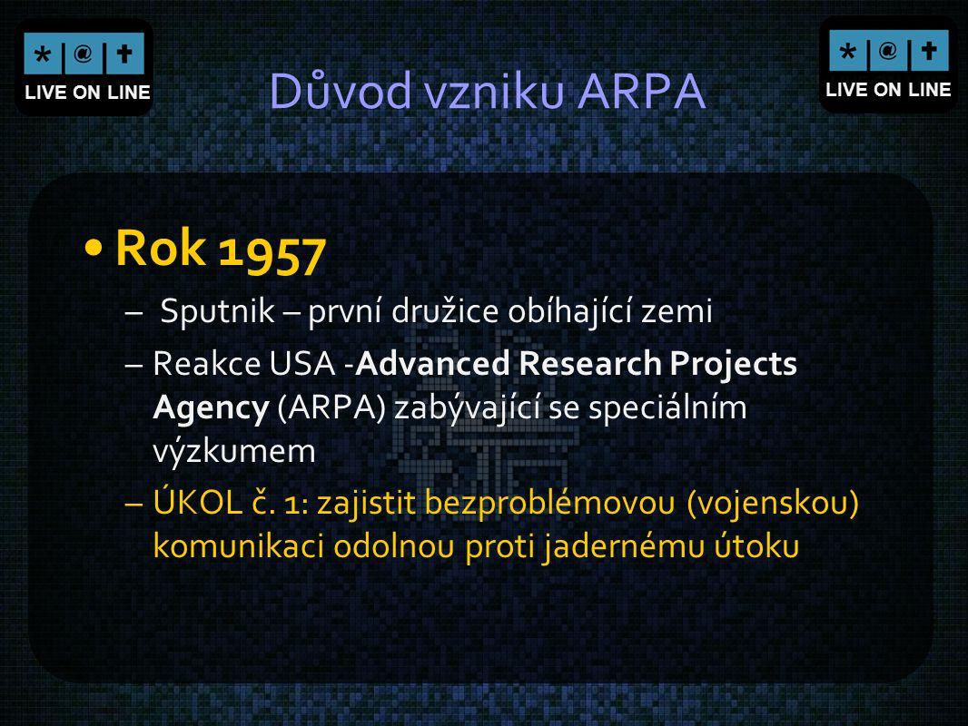 LIVE ON LINE Důvod vzniku ARPA Rok 1957 – Sputnik – první družice obíhající zemi –Reakce USA -Advanced Research Projects Agency (ARPA) zabývající se s