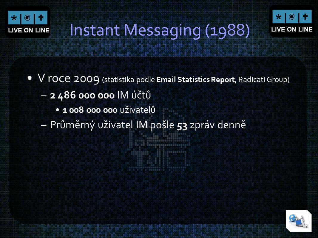 LIVE ON LINE Instant Messaging (1988) V roce 2009 (statistika podle Email Statistics Report, Radicati Group) –2 486 000 000 IM účtů 1 008 000 000 uživ