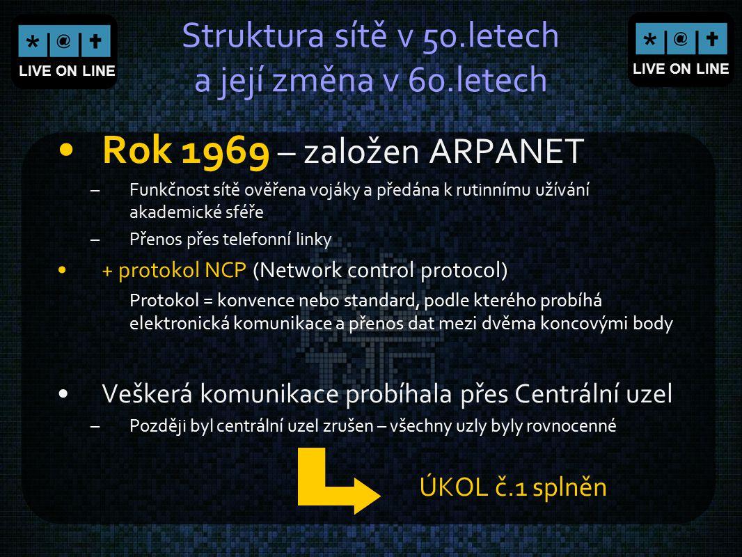 LIVE ON LINE Struktura Internetu - pojmy Server - počítač, který poskytuje nějaký druh služby, nebo program, který tyto služby realizuje Datový spoj (data link) - organizovaný komunikační kanál, který slouží k propojení uzlových počítačů Počítačová síť - skupina počítačů nebo jiných zařízení (tzv.