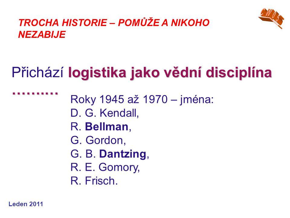 Leden 2011 logistika jako vědní disciplína …….… Přichází logistika jako vědní disciplína …….… TROCHA HISTORIE – POMŮŽE A NIKOHO NEZABIJE Roky 1945 až 1970 – jména: D.
