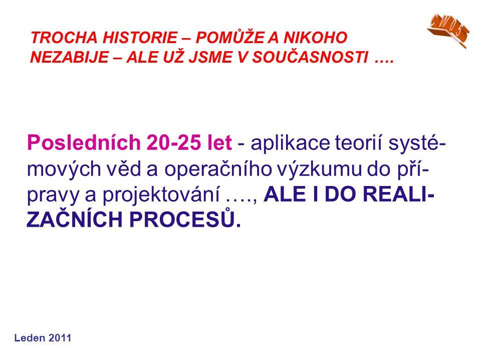 Leden 2011 Posledních 20-25 let - aplikace teorií systé- mových věd a operačního výzkumu do pří- pravy a projektování …., ALE I DO REALI- ZAČNÍCH PROCESŮ.
