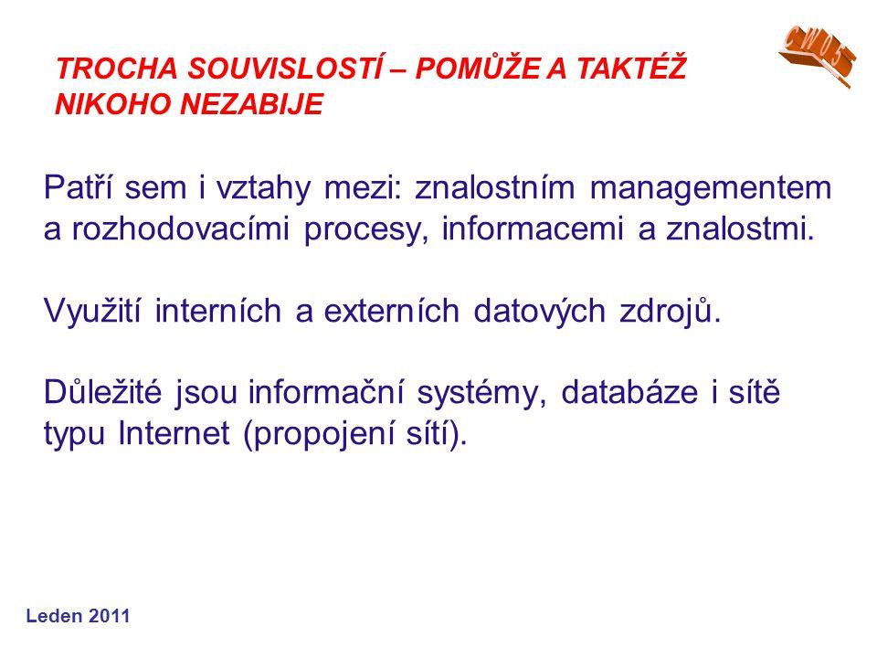 Leden 2011 Patří sem i vztahy mezi: znalostním managementem a rozhodovacími procesy, informacemi a znalostmi.
