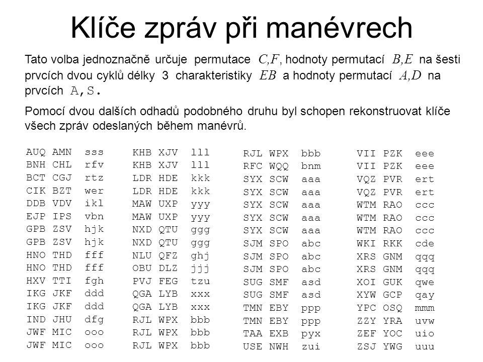 Klíče zpráv při manévrech Tato volba jednoznačně určuje permutace C,F, hodnoty permutací B,E na šesti prvcích dvou cyklů délky 3 charakteristiky EB a hodnoty permutací A,D na prvcích A,S.