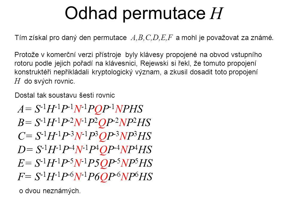 Odhad permutace H Tím získal pro daný den permutace A,B,C,D,E,F a mohl je považovat za známé.