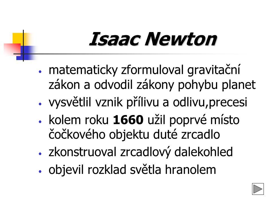 Isaac Newton matematicky zformuloval gravitační zákon a odvodil zákony pohybu planet vysvětlil vznik přílivu a odlivu,precesi kolem roku 1660 užil pop
